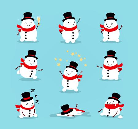 귀여운 쾌활 한 눈사람의 집합입니다. 크리스마스 요소 문자 컬렉션입니다. 행복 한 새 해, 메리 크리스마스 디자인 요소입니다. 카드, 배너, flayer, 전 일러스트