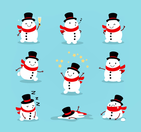Set of cute playful snowmen. Elements from the Christmas collection of characters. Happy New Year, Merry Xmas design element. Good for card, banner, flayer, leaflet, poster. Vector illustration Illustration