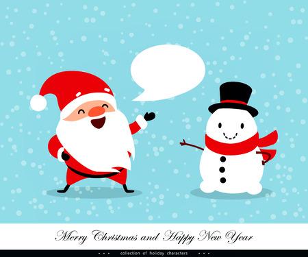 santa helper: Playful snowman illustration.