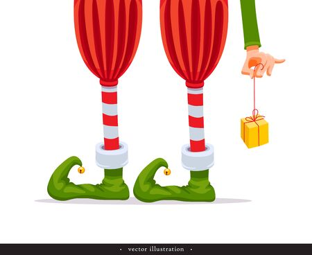 Elfs legs and Elfs hand with a gift. Creative Christmas composition. Humorous xmas collection. Festive background. Vector illustration.