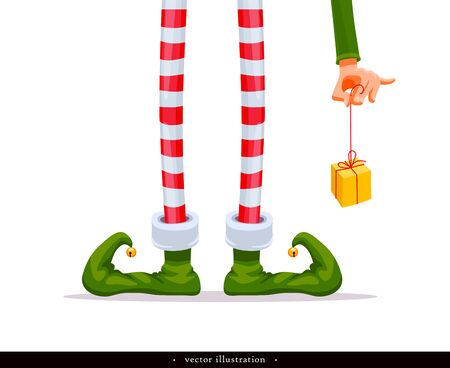 Elf's legs and Elf's hand with a gift. Funny assistant to Santa Claus. Creative Christmas composition. Humorous xmas collection. Festive background. Vector illustration. Isolated on white background Vectores