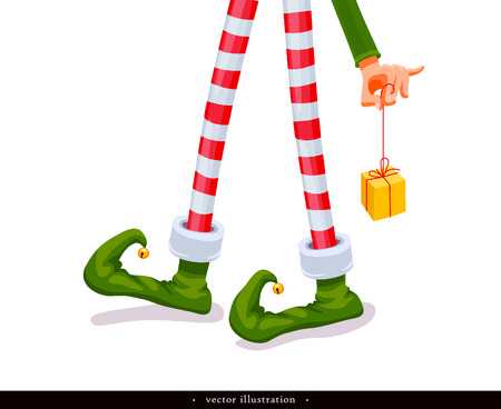 Elf's legs and Elf's hand with a gift. Funny assistant to Santa Claus. Creative Christmas composition. Humorous xmas collection. Festive background. Vector illustration. Isolated on white background Иллюстрация