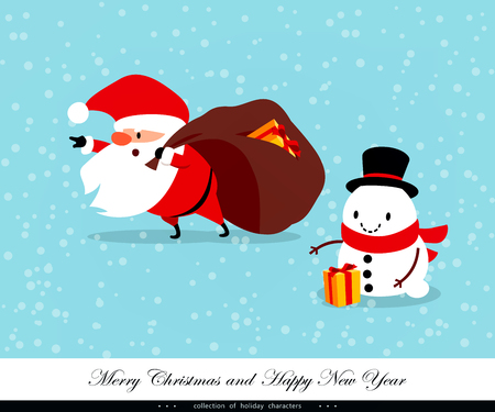 Santa Claus carrying bag with gifts. Snow man is helping him. Funny emotional characters for the Christmas and New Year design. A humorous collection of Xmas. Vector illustration