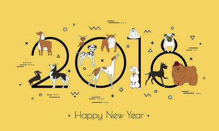개 - 기호 2018의 품종에 배너. 행복 한 새 해입니다. 멤피스 스타일. 흰색 배경에 고립. 동부 달력. 배너 광고, 인사말, 판매에 사용할 수 있습니다. 벡터  일러스트