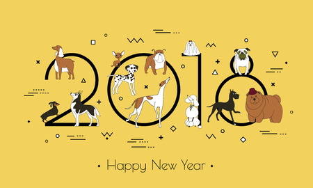 Banner in breeds of dogs - symbol 2018. Happy New Year. Memphis style. Isolated on white background. Eastern calendar. Banner can be used for advertising, greetings, sale. Vector illustration