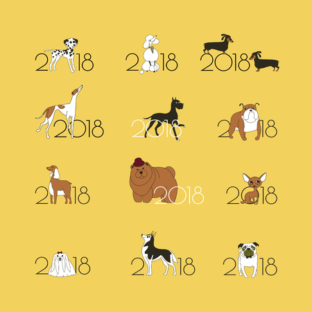 2018 - the year of the dog to the Eastern calendar. 12 logos with different breeds of dogs. Minimalism. Isolated. Vector illustration Illustration