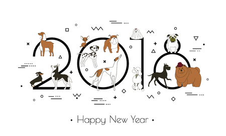 Banner in breeds of dogs - symbol 2018. Happy New Year. Memphis style. Isolated on white background. Eastern calendar. Banner can be used for advertising, greetings, sale. Vector illustration Stock Vector - 88178333
