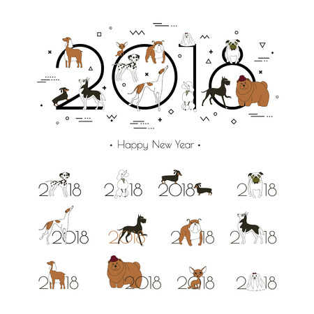 2018 - the year of the dog to the Eastern calendar. Creative headline and 12 logos with different breeds of dogs. Minimalism. Sketch style. Isolated on white background. Vector illustration