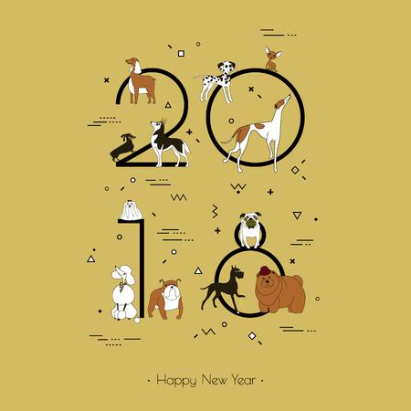 Template-Überschrift 2018 mit einer Hunderasse im Memphis-Stil. Hundesymbol des chinesischen neuen Jahres. Vektor. Schwarzweiss lokalisiert auf gelbem Hintergrund