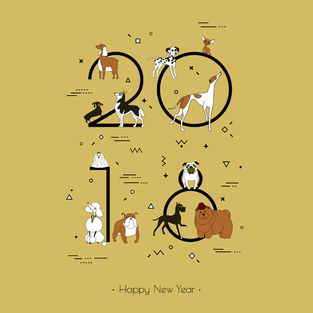Template headline 2018 with a breed of dogs in Memphis style. Dog symbol of Chinese New Year. Vector. Black and white isolated on yellow background