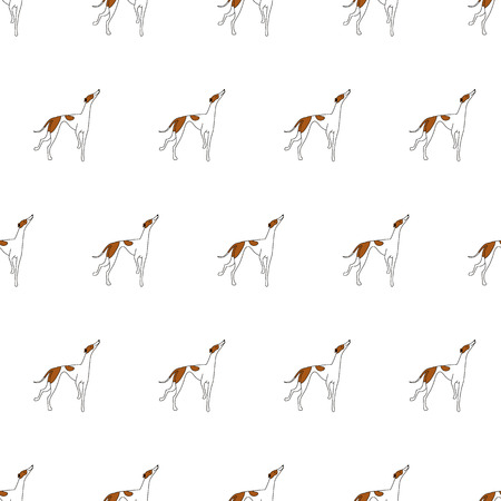 Breeds of dogs, Greyhound. Seamless pattern. Minimalism. Dog is a symbol of 2018. Vector illustration