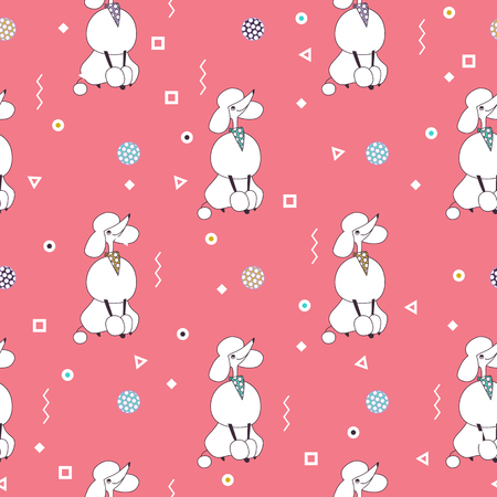 Breeds of dogs, Poodle. Seamless pattern. Minimalism. Dog is a symbol of 2018 on the Chinese calendar. Vector illustration