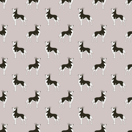 Siberian Husky. Breeds of dogs. Seamless pattern. Minimalism. Dog is a symbol of 2018. Chinese calendar. Vector illustration