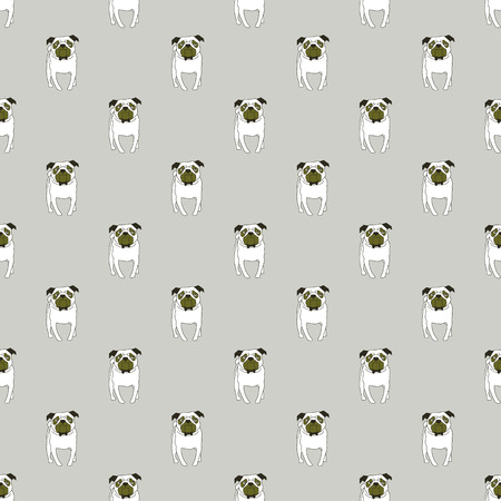 Pug. Breeds of dogs. Seamless pattern. Minimalism. Dog is a symbol of 2018. Chinese calendar. Vector illustration