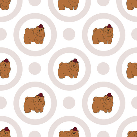 Chow Chow. Breeds of dogs. Seamless pattern. Minimalism. Dog is a symbol of 2018. Chinese calendar. Vector illustration