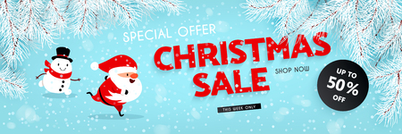Christmas sale, discounts. A festive banner with a running Santa Claus, Snowman, snow, and the branches of the Christmas tree. Vector illustration Ilustrace