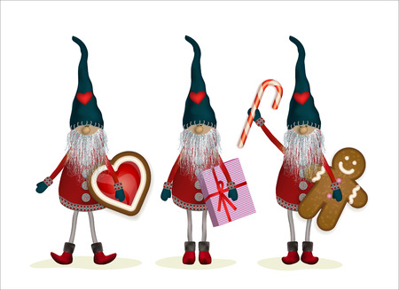 Christmas Elves with gifts, cookies and sweets. Scandinavian folk characters - Nisser in Norway and Denmark, Tomtar in Sweden or Tonttu, Tomte in Finnish. Vector illustration isolated on white.