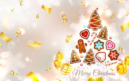 Christmas cookies, sweets, cake - snowflakes, gingerbread man, Christmas tree. Sweet New Year. Festive silvery background with confetti, candles, sparkles and a golden serpentine. Vector illustration