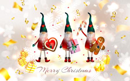 Skandinavische Weihnachtselfen mit Geschenken, Schneeflocken, Plätzchen und Bonbons. Unscharfer weißer silberner Hintergrund mit goldenem Serpentin. Neujahr-Vektor-Illustration Standard-Bild - 90149434