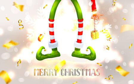Elfs legs and Elfs hand with a gift. Funny assistant to Santa Claus. Festive Blurred White Silver Background. Christmas composition. Xmas collection. New Year vector illustration 向量圖像