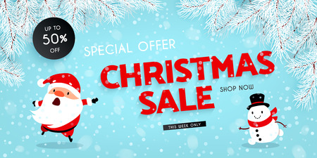 Christmas sale, discounts. Festive advertising banner with fun New Year symbols and symbols. Santa Claus is skating. Snowman is running. Snow, Branches of the Christmas tree. Vector illustration Illustration