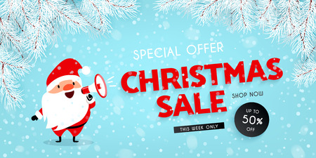 Christmas sale, discounts. Festive advertising banner. Santa Claus with a megaphone. Snow, Branches of the Christmas tree. Vector illustration