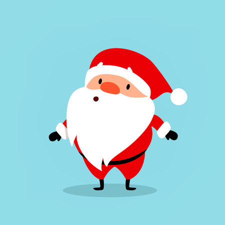 Santa Claus surprised. Cute emotional Christmas character. An element from the New Year collection. Vector illustration isolated on light blue background.