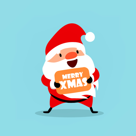 Santa Claus wishes Merry Christmas. Cute emotional Christmas character. An element from the New Year collection. Vector illustration isolated on light blue background.