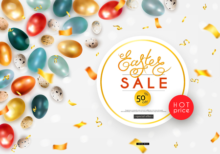 Easter sale. Advertising banner with chicken and quail eggs, confetti and serpentine. Vector illustration Ilustração