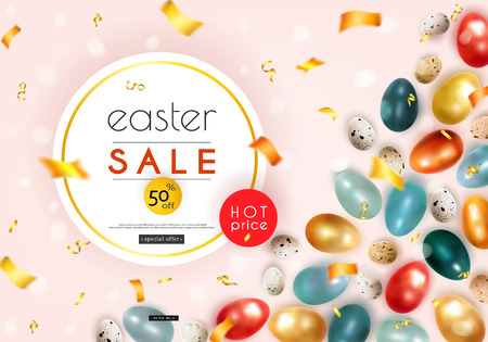 Easter sale. Advertising banner with chicken and quail eggs, confetti and serpentine. Vector illustration 일러스트
