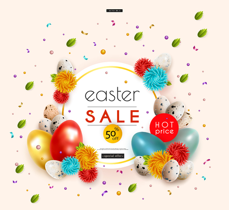 Easter sale. Advertising banner with chicken and quail eggs, flowers, fresh spring leaves, confetti and serpentine. Vector illustration.