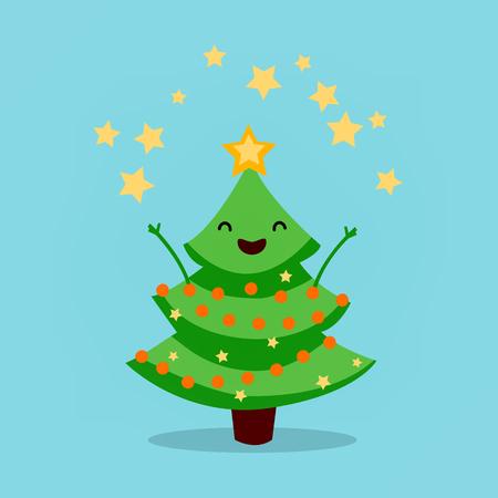 Divertente albero di Natale animato, fuochi d'artificio di stelle. Buon Natale e un Felice Anno Nuovo. Illustrazione vettoriale Archivio Fotografico - 91351533