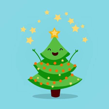 Funny animated Christmas tree, Fireworks of stars. Merry Christmas and a Happy New Year. Vector illustration Illustration