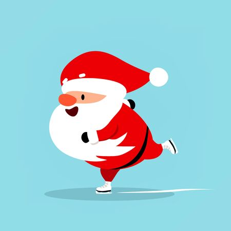Santa Claus is skating. Funny Christmas symbol. Vector illustration is suitable for New Years design sports advertising, sporting goods, winter entertainment and recreation.