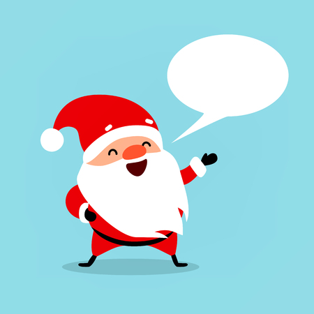 Santa Claus with bubble for text. Cute emotional Christmas character. Element from the collection. Vector illustration isolated on light blue background. Illustration