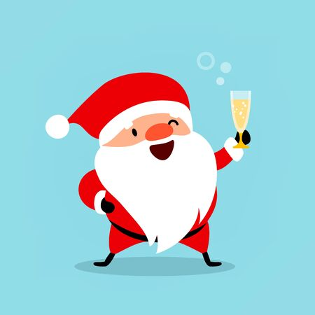 Funny Santa Claus with a glass of champagne wishes Merry Christmas and a Happy New Year. Vector illustration is suitable for New Years design of advertising, winter entertainment and recreation. Illustration