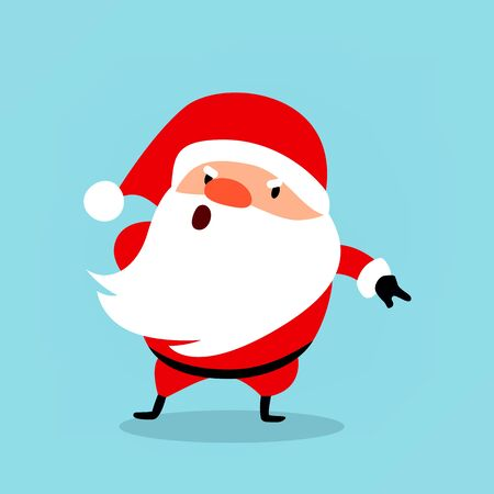 Funny Santa Claus gets angry, points with his finger, commands. Christmas vector illustration is suitable for New Years corporate design, advertising, banners, flyers.