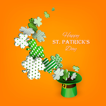 St. Patricks Day. Traditional green leprechaun hat and 3d clover leaves with geometric patterns. Composition for festive design. Isolated on an orange background. Vector illustration Illustration