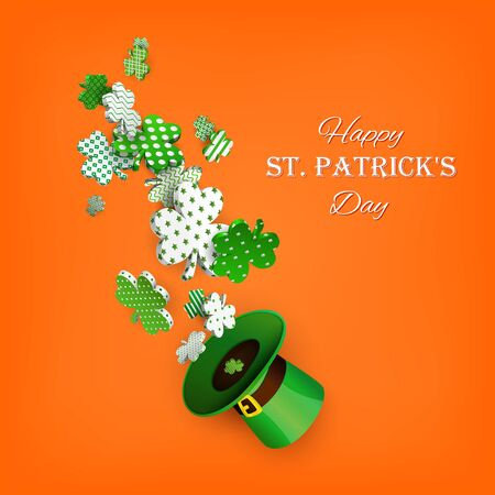 St. Patrick's Day. Traditional green leprechaun hat and 3d clover leaves with geometric patterns.