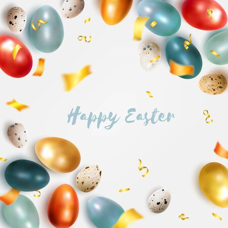 Easter card with colored realistic chicken eggs and quail. Festive vector illustration suitable for design of advertising banner, leaflet, poster, poster, flyer. Vector illustration Ilustração