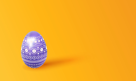 Happy easter. 3d Christmas painted egg with a delicate ornament, copy space for text. Negative space. Monochrome background with isolated realistic object for festive design. Vector illustration Illustration