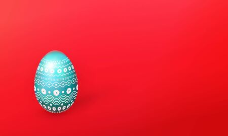 Happy easter concept in 3d painted realistic egg with a delicate ornament, copy space for text, Negative space, Red background with isolated turquoise object for festive design.