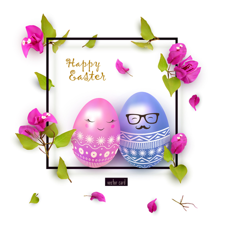 Happy Easter banner, elegant festive design. Illustration