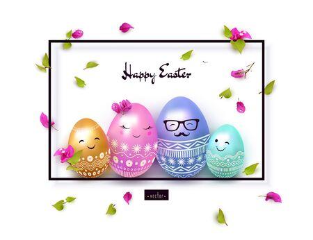 Happy Easter banner, elegant festive design. Ilustração