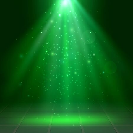 Green spotlights, fog, smoke, Scene, Disco, Light Effects, St. Patrick's Day, Halloween, Vector illustration