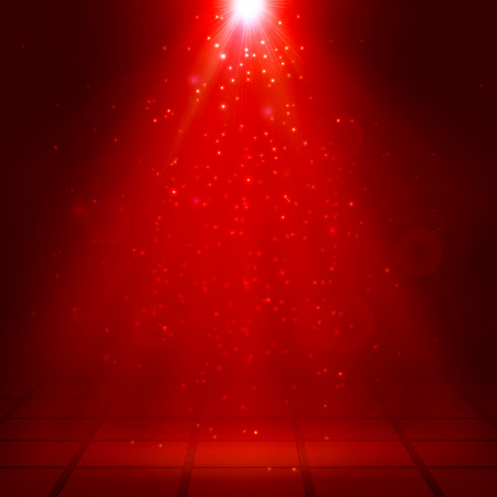 Red spotlights, ray, fog, smoke, Scene, Disco, Light Effects, Vector illustration