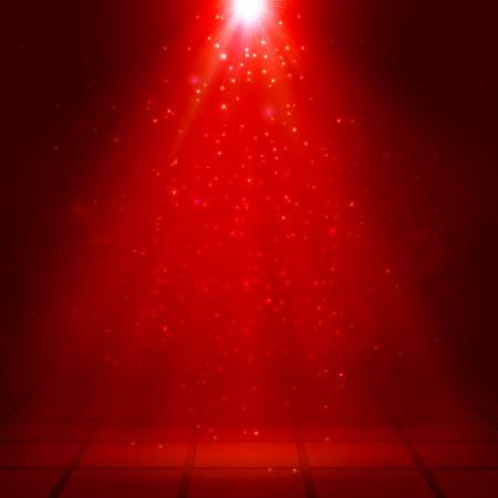 Red spotlights, ray, fog, smoke, Scene, Disco, Light Effects, Vector illustration