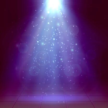 Violet and blue spotlights, ray, fog, smoke, Scene, Disco, Light Effect. Winter, new year, Christmas. Vector illustration Vector Illustration
