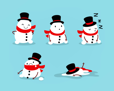 Early Spring, Snowman melts, Set of isolated objects for seasonal design. 免版税图像 - 92238387