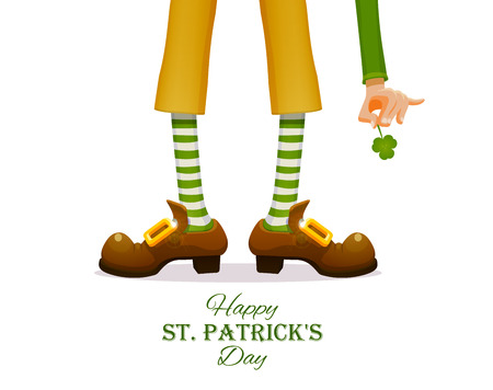 St. Patrick 's Day Legs of a leprechaun and Patrick's hand with a shamrock clover.